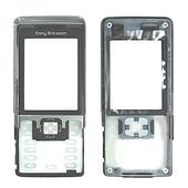 Sony C702 Передняя панель корпуса с защитным стеклом дисплея, Metallic Black, 1207-6795 (оригинал)
