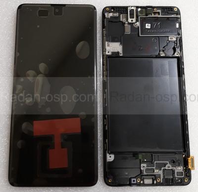Дисплей (экран) Samsung Galaxy A71 A715 с рамкой Black Super AMOLED, GH82-22152A (сервисный оригинал)